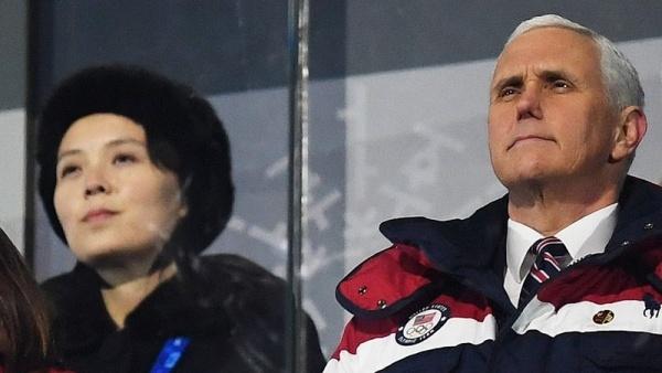 Phó tổng thống Mỹ Mike Pence và cô Kim Yo-jong dự lễ khai mạc Thế vận hội Mùa đông ở Hàn Quốc. Ảnh:
