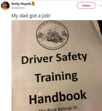Emily Huynh thông báo trên mạng xã hội Twitter rằng bố cô, ông Minh Huynh, đã tìm được công việc làm lái xe cho công ty vận chuyểnCharlies Produce. Ảnh:Twitter.