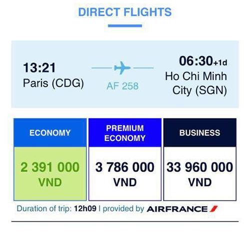 Giá khứ hồi cho mộtchuyếnbay thẳngParis - Tp. HCM củaAir France hiển thị trên ứng dụng đặt vé trên điện thoại của hãng vào ngày 14/2.Ảnh chụp màn hình.