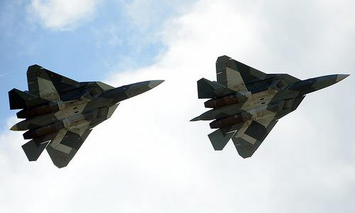 Biên đội Su-57 trong quá trình thử nghiệm thực tế. Ảnh: RT.