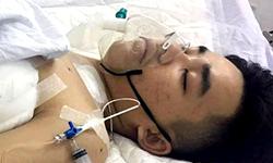 Quý bị đa chấn thương do tai nạn giao thông, đang điều trị ở Bệnh viện Đa khoa Đà Nẵng. Ảnh:Gia đình cung cấp.