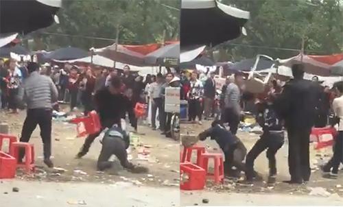 Nam thanh niên bị đuổi đánh đến cùng. Ảnh: Cắt từ video.
