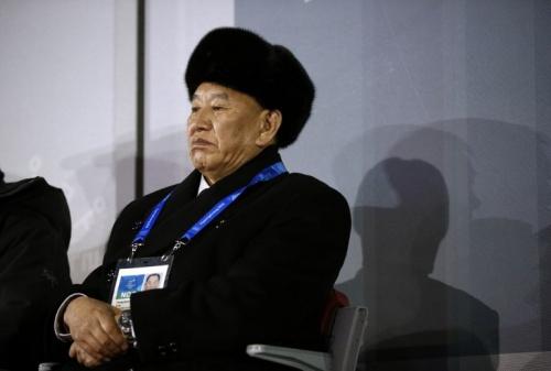 Kim Yong-Chol, trưởng phái đoàn quan chức Triều Tiên, dự lễ bế mạc Thế vận hội Mùa đông 2018 tối nay tại Hàn Quốc. Ảnh: AFP.