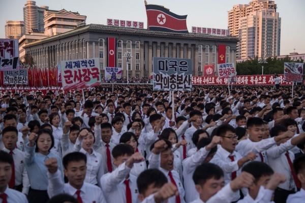 Một cuộc biểu tình chống Mỹ ở thủ đô Bình Nhưỡng hồi tháng 9/2017. Ảnh: AFP.