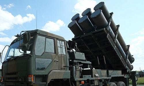 Tổ hợp tên lửa chống hạm trên mặt đất của Nhật Bản. Ảnh: AFP.