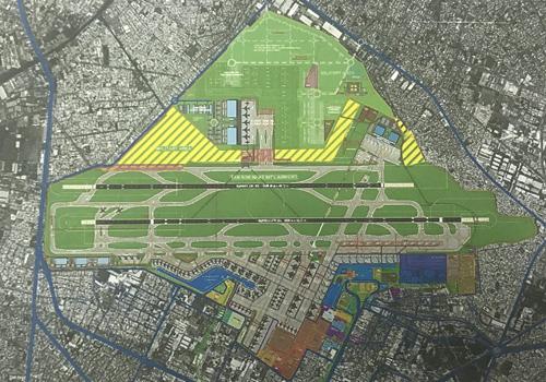 Phương án xây dựng nhà ga hành khách phía namvà các công trình phụ trợ phía bắc lấy một phần đất sân golf.