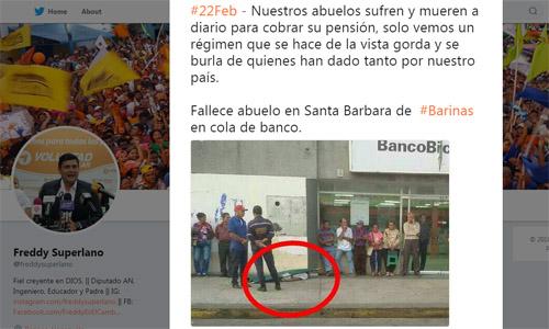 Đại biểu quốc hộiFreddy Superlano viết trên mạng xã hội về tình trạng người cao tuổi ở Venezuela phải xếp hàng đến chết trước cửa các ngân hàng để chờ lĩnh lương hưu. Ảnh: Twitter.