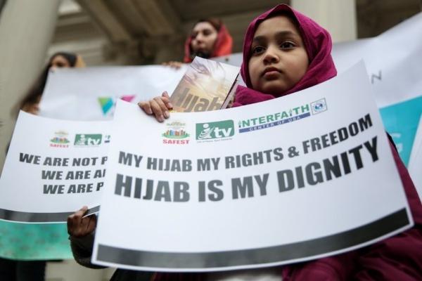 Cuộc biểu tình nhân ngày Hijab Thế giới ở New York hồi tháng hai. Ảnh: Reuters.
