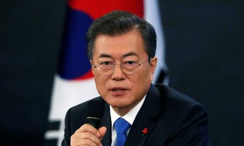 Tổng thống Hàn Quốc Moon Jae-in. Ảnh:Reuters.