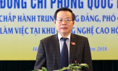 Ông Phùng Quốc Hiển khẳng định đầu tư cho Hòa Lạc là dự án đầu tư trọng điểm nhà nước. Ảnh: T.H