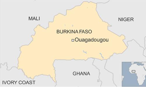 Vị trí Burkina Faso ở châu Phi. Đồ hoạ: BBC.