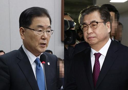 Giám đốc Văn phòng An ninh Quốc gia (NSO) Chung Eui-yong (trái) và Giám đốc Cơ quan Tình báo Quốc gia (NIS) Suh Hoon. Ảnh: Korea Times.