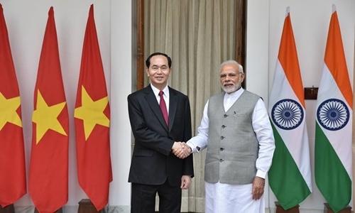 Chủ tịch Nước Trần Đại Quang và Thủ tướng Ấn Độ Narendra Modi. Ảnh: Bộ Ngoại giao Ấn Độ.