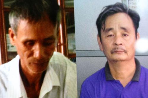 Hai người đàn ông trung niên Nguyên (trái) và Thọ bị bắt sau hơn 30 năm gây án giết người.