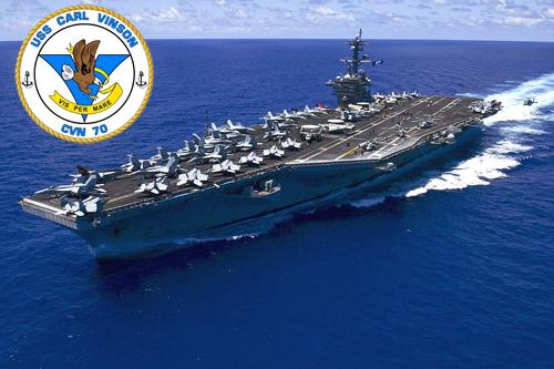 Tàu Carl Vinson có biểu tượng là con đại bàng ngậm dải băng mang dòng chữ Vis Per Mare. Ảnh: US Navy.