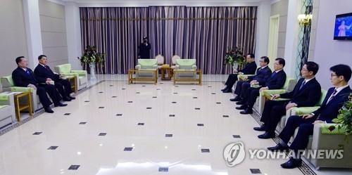 Phái đoàn Hàn Quốc được tiếp đón tại một khách sạn ở Bình Nhưỡng, Triều Tiên. Ảnh: Yonhap.
