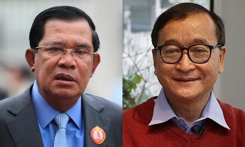 Thủ tướng Hun Sen và cựu lãnh đạo CNRP Sam Rainsy. Ảnh: