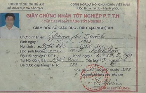 Giấy chứng nhận tốt nghiệp giả mà ông Thành đã sử dụng.