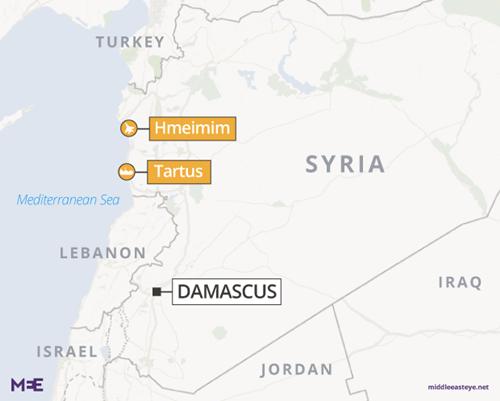 Vị trí căn cứ Hmeimim, Syria. Đồ họa: Middle East Eye.