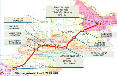 Sơ đồ hướngtuyến đường sắt TP HCM - Cần Thơ trước đây.