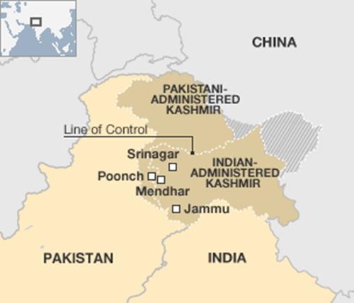 Đường Kiểm soát LoC ngăn cách Ấn Độ và Pakistan. Đồ hoạ:BBC.