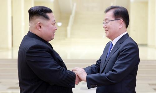 Nhà lãnh đạo Triều Tiên Kim Jong-un (trái) vàGiám đốc Văn phòng An ninh Quốc gia Hàn QuốcChung Eui-yong gặp nhau tại Bình Nhưỡng ngày 6/3. Ảnh: Reuters.