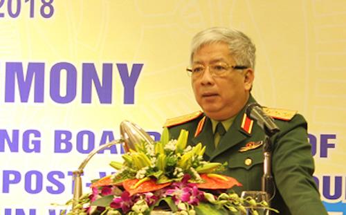 Thượng tướng Nguyễn Chí Vịnh tại lễ công bố quyết định ngày 8/3. Ảnh: MOD