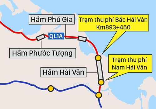 Hai trạm thu phí sát hầm Hải Vân được đề nghị sát nhập.