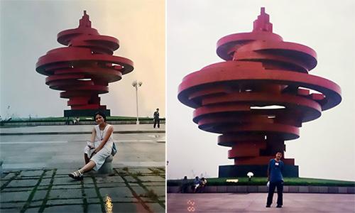 Ye tình cờ lọt vào bức ảnh mà Xue chụp năm 2000ở quảng trường thành phố Thanh Đảo