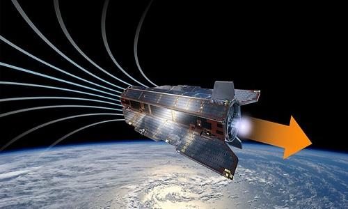Động cơ đẩy mới có thể giúp vệ tinh hoạt động nhiều năm trên quỹ đạo thấp của Trái Đất. Ảnh: ESA.