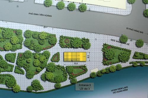 Vị trí và kiến trúc cửa lên xuống số 3 của ga ngầm C9 đã nhận được nhiều đóng góp do nằm sát hồ Gươm. Ảnh phối cảnh của MRB.