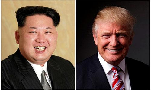 Tổng thống Mỹ Trump, phải, và nhà lãnh đạo Triều Tiên Kim Jong-un. Ảnh: Reuters.