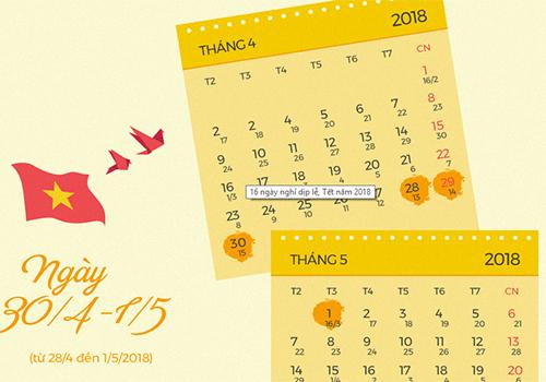 Lịch nghỉ 4 ngày lễ 30/4 và 1/5đã được Chính phủ phê duyệt.