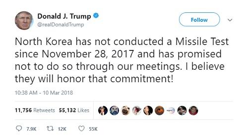Thông báo trên Twitter của Tổng thống Mỹ hôm 10/3. Ảnh: Twitter.