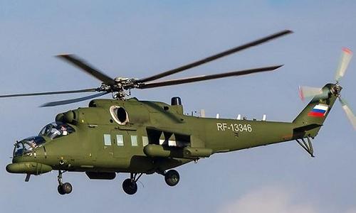 Trực thăng Mi-35MS, một trong những mẫu trực thăngdành cho các quan chức cấp cao Nga, bao gồm cả Tổng thống. Ảnh: Foxtrot Alpha.