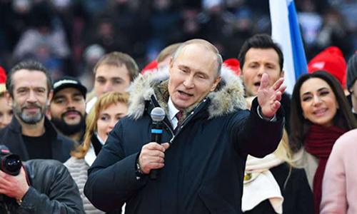 Tổng thống Putin tại một sự kiện vận động tranh cử ở Moscow. Ảnh: AFP