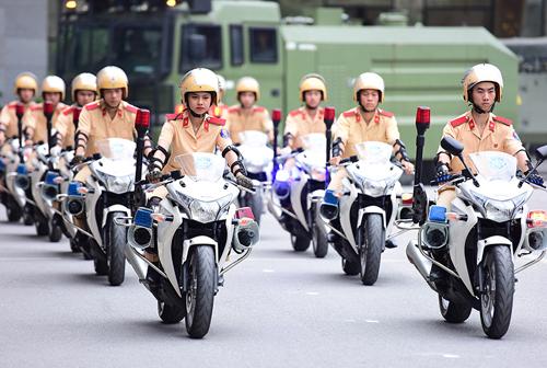Đội hình môtô phân khối lớn của Học viện Cảnh sát nhân dân. Ảnh: Giang Huy