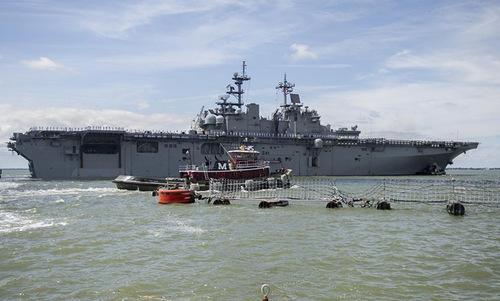 Tàu đổ bộ tấn công USS Wasp của hải quân Mỹ. Ảnh:US Marine.