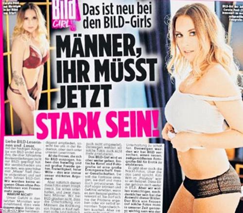 Bild tuyên bố trên ấn phẩm ngày hôm qua rằng sẽ dừng sản xuất những bức ảnh phụ nữ khỏa thân và kêu gọi cánh đàn ông hãy mạnh mẽ lên. Ảnh:Bild
