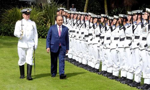 Thủ tướng Việt Nam Nguyễn Xuân Phúc trong lễ đón sáng nay ở New Zealand. Ảnh: TTXVN.