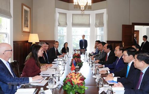 Thủ tướng Nguyễn Xuân Phúc và Thủ tướng New Zealand hội đàm ngày 13/3. Ảnh: TTXVN.