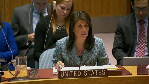 Nikki Haley, đại sứ Mỹ tại Liên Hợp Quốc, phát biểu hôm 12/3. Ảnh: Hill.