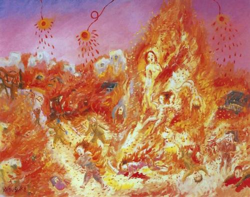 Bức tranh mô tả trận bão lửa do một người sống sót vẽ. Ảnh: USAF.