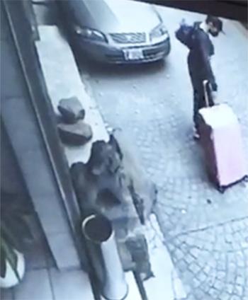 Hình ảnh camera cho thấy nghi phạm Chan kéo vali khỏi khách sạn ở Đài Bắc. Ảnh: SCMP