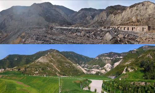 Cảnh quan thiên nhiên thay đổi theo thời gian dưới nỗ lực cải tạo của ông Zhang. Ảnh: CGTN.