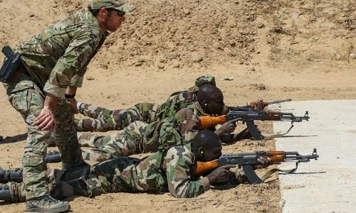 Đặc nhiệm Mỹ đang huấn luyện binh sĩ Niger tác chiến. Ảnh:CNN.