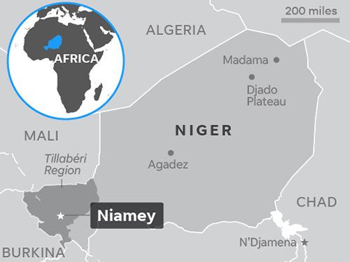 Vụ phục kích xảy ra ở khu vực biên giới tây nam của Niger giáp Mali. Đồ họa:US Today.