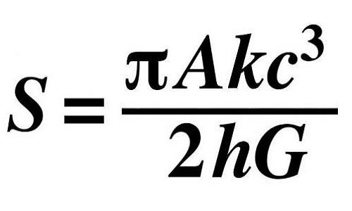 Phương trình tóm tắt phát hiện lớn nhất trong sự nghiệp của giáo sư Hawking về hố đen. Ảnh: Independent.