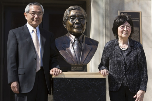 Ei-ichi Negishi,Ei-ichi Negishi, left stands with his wife, Sumire, after the unveiling of a bronze sculpture of him outside of Wetherill Laboratory of Chemistry on campus at Purdue University in West Lafayette, Ind.