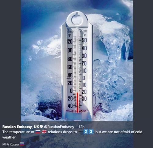 Đại sứ quán Nga tại Anh mô tả quan hệ hai nước đang giá lạnh. Ảnh: Twitter.